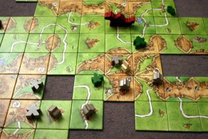 A game of Carcassonne in progress.