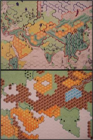 Detail view of the 1st (top) and 2nd (bottom) versions of the Lebensraum map. Both depict Aryan/HImalayan regions.