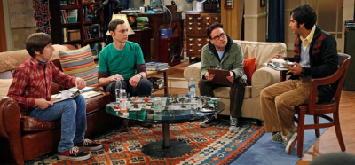 Characters from the Big Bang Theory posed in a typical session of D&D.