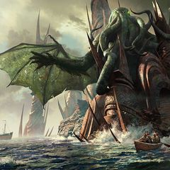 "One artist's illustration of a scene from ""The Call of Cthulhu."""